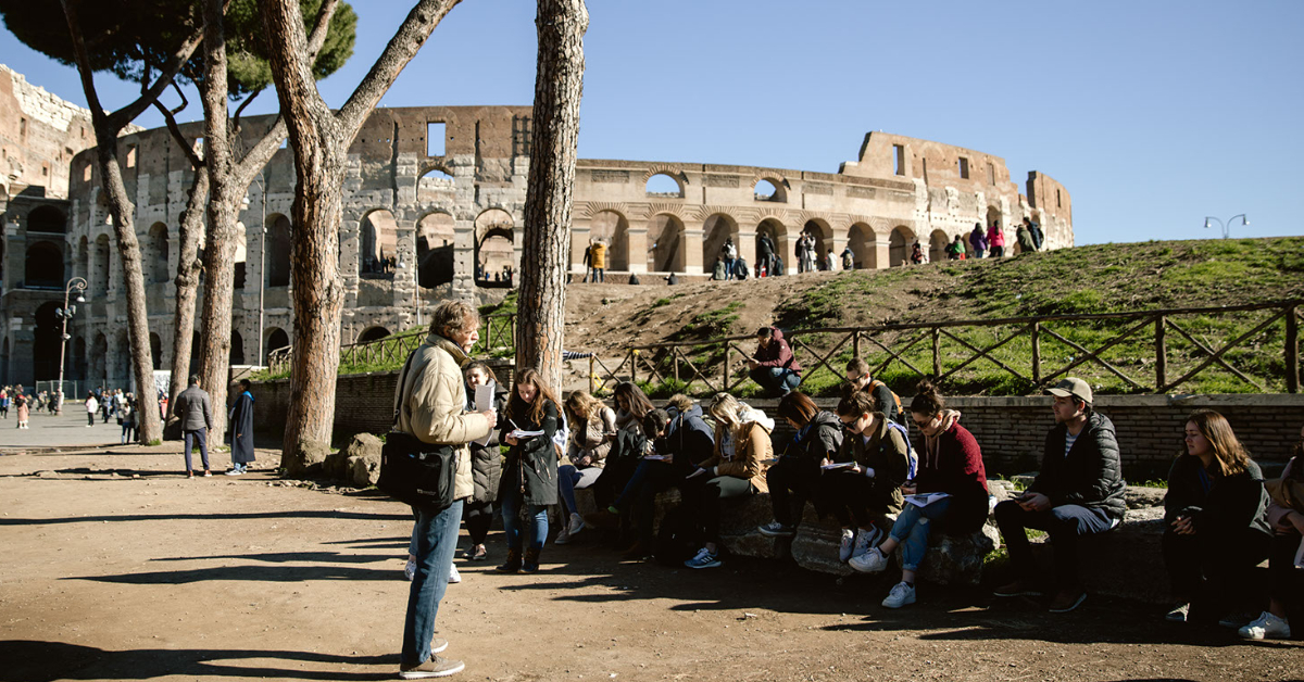 Class being taught next to the Colosseum