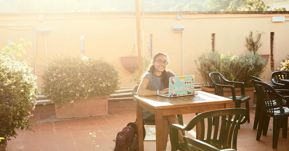 Student studying at JCU Secchia Terrace