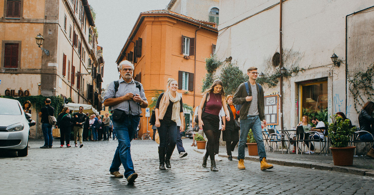 People walking the streets of Rome